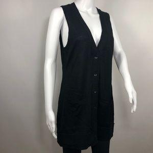 ANN TAYLOR LOFT V Neck Sweater Vest Button Front M